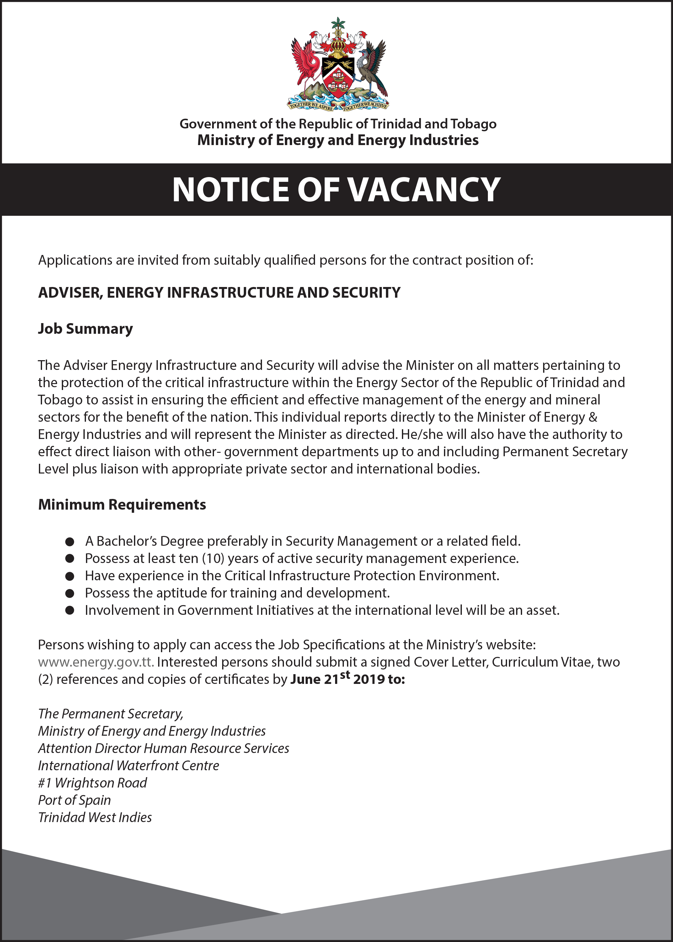 Ministry of Energy and Energy Industries | Vacancies