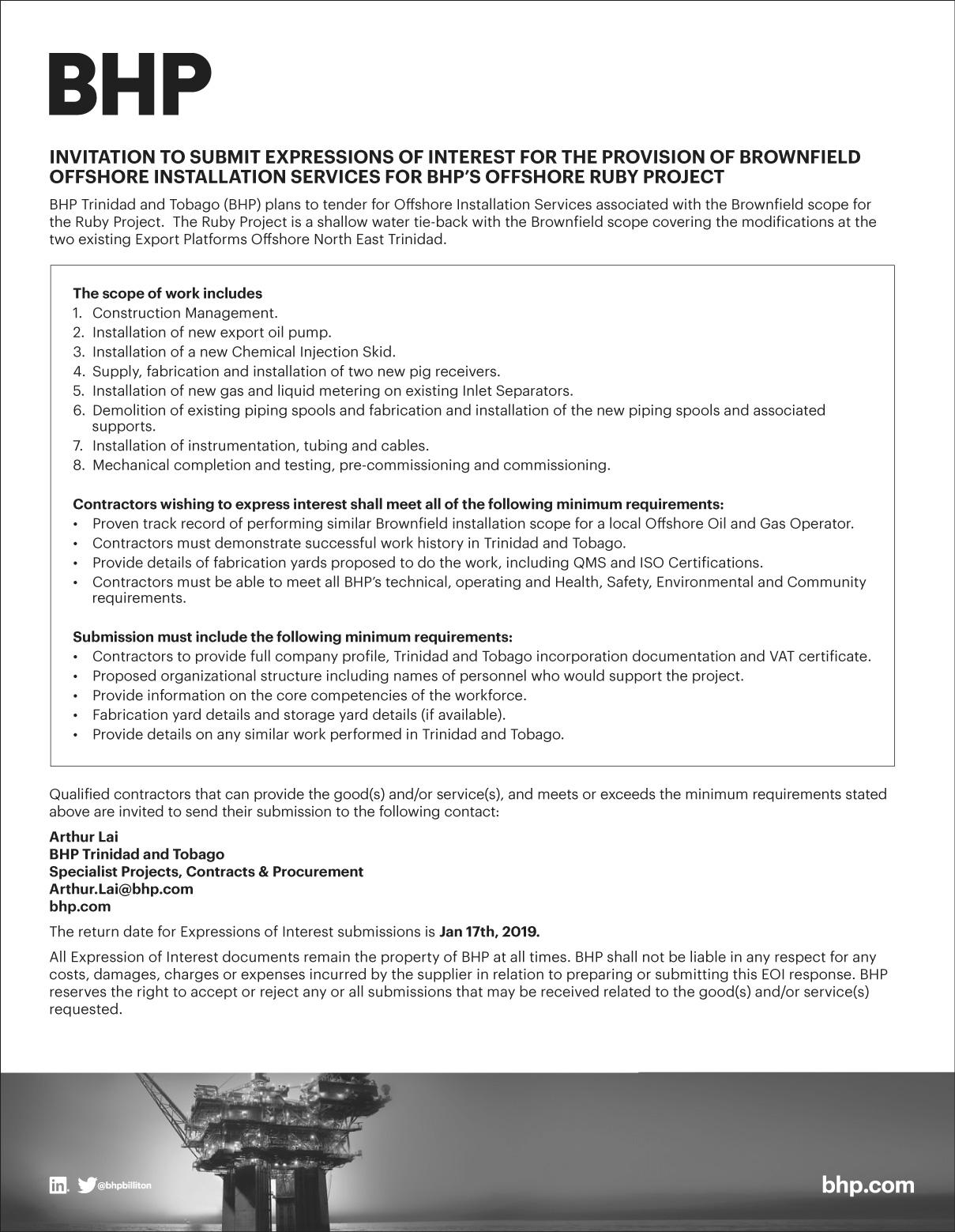 BHP advances Trinidad gas project - BNamericas